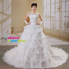 Style 8092, Magnificent Organza Ball Gown Strapless Chinese Wedding Dress by CBG.