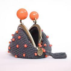 Clasp closure purse handmade crochet with glass beads 64077b38fa3
