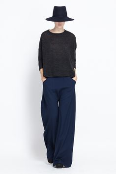 Assembly New York Wide Leg Gaucho Pants (Navy)