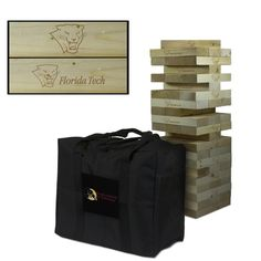 Show off your Florida Institute of Technology Panthers spirit with this Giant Jenga-Style wooden tumble tower game! The wood blocks are laser engraved with the Florida Institute of Technology Panthers