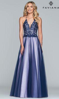 199a7e42edc Long Two-Tone V-Neck Ballgown-Style Prom Dress