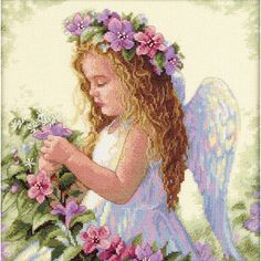 Brighten your home with this sweet Passion Flower Angel cross stitch kit. A 14-count ivory Aida base provides for great detail and contrast, and each kit contains thread, needle, and complete directio