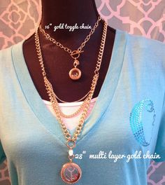 """New Origami Owl toggle chain & layered chain....gorgeous! 16"""" has mini locket on chain. 28"""" has a large locket on it. dawncarden.origamiowl.com"""