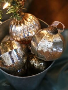 Mercury glass Christmas bulbs from The Wicker Emprorium