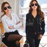 New Korean Fashion Ladies Long Sleeve Turn-down Collar Rivet Shirt Blouse