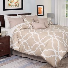 Lavish Home 7-piece White and Tan Trellis Comforter Set | Overstock.com Shopping - The Best Deals on Comforter Sets