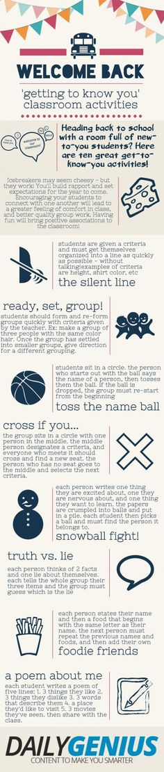 Practical Strategies to Ge to Know Your Students 8 Effective Ways To Get To Know Your Students. Great for back-to-school Effective Ways To Get To Know Your Students. Great for back-to-school activities. Get To Know You Activities, Back To School Activities, Class Activities, Classroom Activities, Classroom Ideas, Leadership Activities, 1st Day Of School, Beginning Of The School Year, School Days