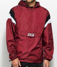 83b3973a0cd3 DGK Offside Burgundy Windbreaker Anorak Jacket