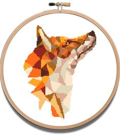 Fox cross stitch pattern geometric animal modern | Craftsy