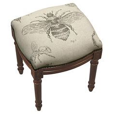 Equally at home in your living room seating group or accenting the foyer, this wood-framed stool charms with its bee-print upholstery. Living Room Stools, Living Room Furniture, Vanity Stool, Foyer Decorating, French Country Decorating, French Decor, Upholstery, Interior Design, Interior Styling