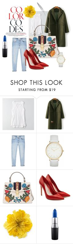 """""""Normal day"""" by michellepaper on Polyvore featuring moda, American Eagle Outfitters, MANGO, Laura Ashley, Gucci, Alexander McQueen y MAC Cosmetics"""