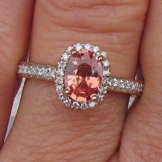 Apricot Colored Sapphire in Oval Rose Gold Diamond Halo Setting Gemstone Engagement Ring
