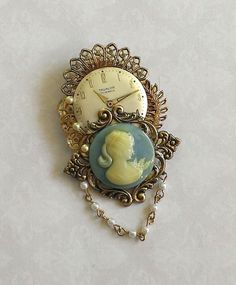 Cameo and Watch Gear Brooch      Free Shipping by FromABygoneTime