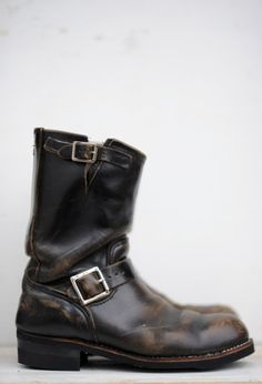 Vintage Harley Davidson Motorcycle Boots Brown Leather Engineer ...