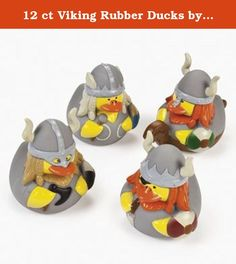 """12 ct Viking Rubber Ducks by Fun Express. 12 Viking Rubber Duckies. These vinyl ducks are ready for an adventure! Dressed like Vikings in battle armor, these warrior ducks look tough! 2 1/2"""" Duckies do not float upright."""