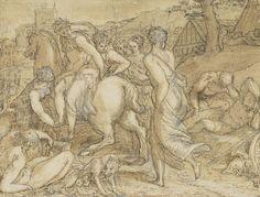 Giuseppe Porta (Giuseppe Salviati), c.1520-c.1575, Italian, Cloelia Fleeing from the Etruscan King Porsena, 1550s.  Pen, brown ink and wash, over black chalk, heightened with white on paper: 14.10 x 18.10 cm.  National Galleries of Scotland, Edinburgh.  Mannerism.