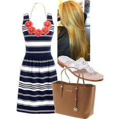 Navy and White Striped Dress by l-woke-up-near-the-sea on Polyvore