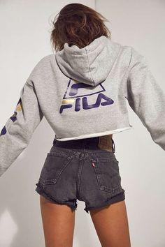 FILA + UO Basketball Cropped Hoodie Sweatshirt | Urban Outfitters | Women's | Hoodies and Sweatshirts #urbanoutfitterseu #uoeurope #fashionhoodieswomens