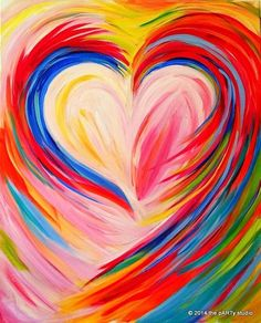 View our upcoming calendar to register for kid friendly, family & private events or evening wine & canvas adult & date night painting events. Rainbow Painting, Heart Painting, Valentines Art, Painting Gallery, Heart Art, Painting Inspiration, Color Inspiration, Art Lessons, Art Drawings