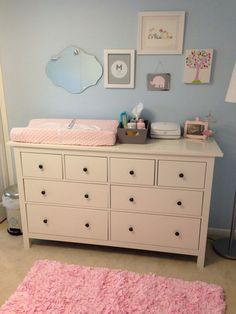 Light Blue Amp Pink Nursery With Ikea Dresser As Changing Table In