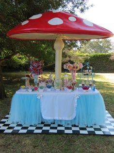 The decor under parasols!  #decor #parasols #under Event Ideas, Party Ideas, Alice In Wonderland Theme, Wedding Ideas, Food And Drink, Table Decorations, Patio, Cake, Outdoor Decor