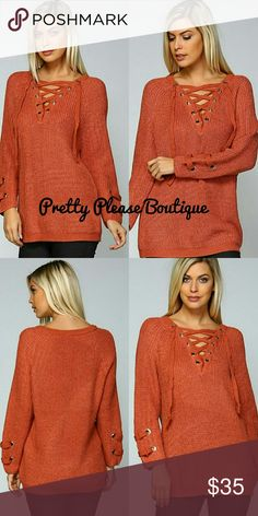 ❤NEW Rust Keylet oversized sweater This sweater is definitely a Must have! Beautiful rich RUST color with lace up leylet details   Fits true to size and oversized Sweaters
