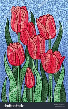 Polygonal vector mosaic with red tulips. Polygonal vector mosaic with red tulips. Paper Mosaic, Mosaic Tile Art, Mosaic Artwork, Mosaic Glass, Mosaics, Mosaic Garden Art, Mosaic Flower Pots, Mosaic Art Projects, Mosaic Crafts