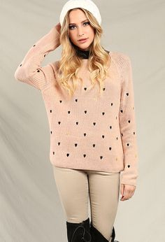 Embroidered Heart knit sweater