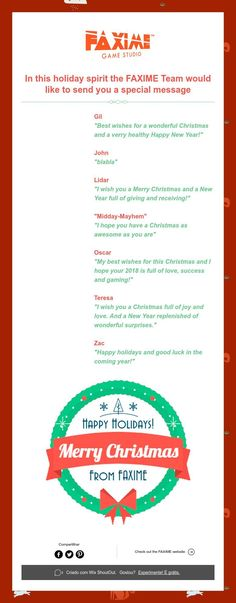 In this holiday spirit the FAXIME Team would like to send you a special message