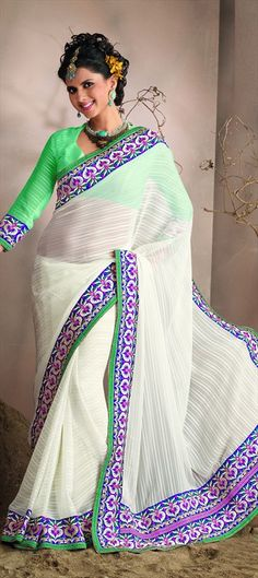 #colorblock your #white saree with #neongreen blouse. This trebd is latest in #WIFW 2013 by #designer Gaurav Gupta.      code-76790