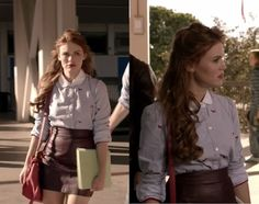 Lydia Martin - pointed collar shirt rather and different colour but definitely this outfit style