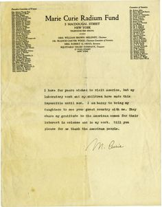 Marie Curie Typed Statement Signed  sold for $2,800 in 2008