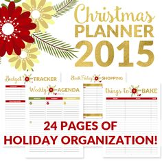 This 2015 Christmas Planner will help keep you on track and in charge of your holiday schedule and finances with 24 pages or organizational tools.