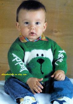 Baby's Teddy Bear Jumper / Sweater in DK 8 ply yarn for size 20 -22 Inches - Vintage Knitting pattern - PDF Instant Download