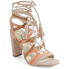 "BCBGeneration 'Ronny' Lace-Up Sandal, 1/4"" heel ($71) ❤ liked on Polyvore featuring shoes, sandals, misty haze suede, high heel sandals, block heel sandals, braided leather sandals, strappy flats and lace-up sandals"