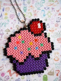 Hama Midi Beads Cupcake Necklace by LorelaiDinda