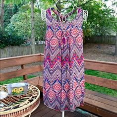 Stunning magenta/blue boho tunic/dress Fully lined -swing cut with scoop neck and criss cross back- love the colors! In petite sizes- perfect petite dress or tunic!  Follow me on Instagram @kfab333 for more items Tops Tunics