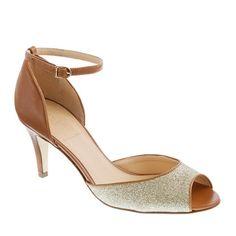 Lara glitter peep-toe heels @ J. Crew