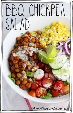 BBQ Chickpea Salad: hearty, healthy, satisfying, eat your veggies and lick your fingers kind of salad. #itdoesnttastelikechicken