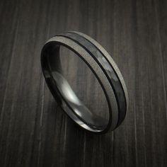 Black Zirconium Band with Hammered Center Custom Made #Engagementringsformen