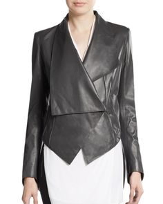 Helmut Lang | Black Asymmetrical Detailed Leather Jacket | Lyst