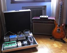 My main gear. The pedalboard, Rivera Quiana Amplifier and my lovely PRS Custom 24