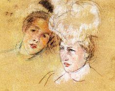 Heads of Leontine and a Friend, Mary Cassatt - circa 1898