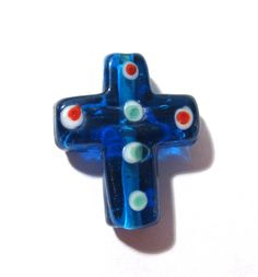 Cross Bead Lampwork Glass VINTAGE Cross Lampwork Glass Bead Blue Glass Venetian Focal Bead Religious Rosary Vintage Jewelry Supplies (S11) by punksrus on Etsy