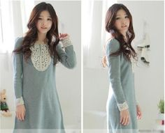 New Arrival Korea Fashion Sweet Corochet Design Collar Long Sleeve Dress (GREEN) China Wholesale - Sammydress.com Green China, Korea Fashion, Sammy Dress, Green Dress, Tunics, Long Sleeve Shirts, Clothes For Women, My Style, Crochet