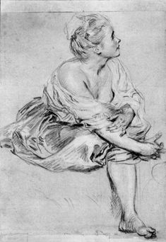 A Seated Woman by @artistwatteau #rococo