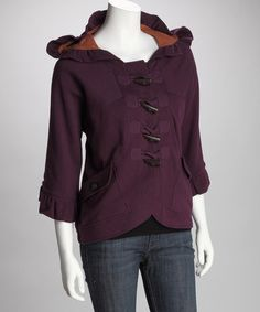Take a look at this Royal Purple Herbie Hooded Jacket  by Knitted Dove on #zulily today! So cute, I love it!!!