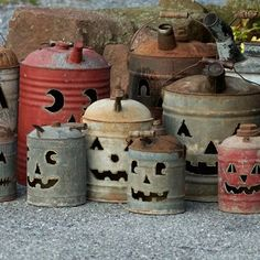 Vintage antique gas cans with jack-o-lantern faces cut into each by Tish, Mike and Ian Bachleda. Rustic Halloween, Holidays Halloween, Halloween Crafts, Halloween Decorations, Halloween Stuff, Fall Crafts, Holiday Crafts, Shabby Chic Fall, Lantern Craft