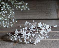 Bridal pearl crystal side tiara vintage от JoannaReedBridal