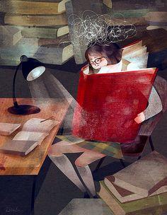 """bibliolectors: """"Vaya lío mental: toda la noche estudiando (ilustración de Dola Sun) """""""
